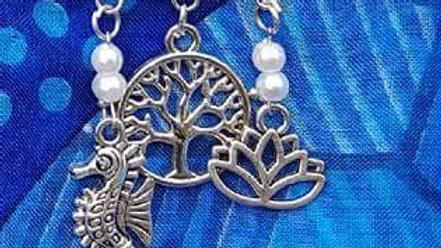 Hat & Sarong Pins - Sea Horse, Tree of Life & Lotus - white beads