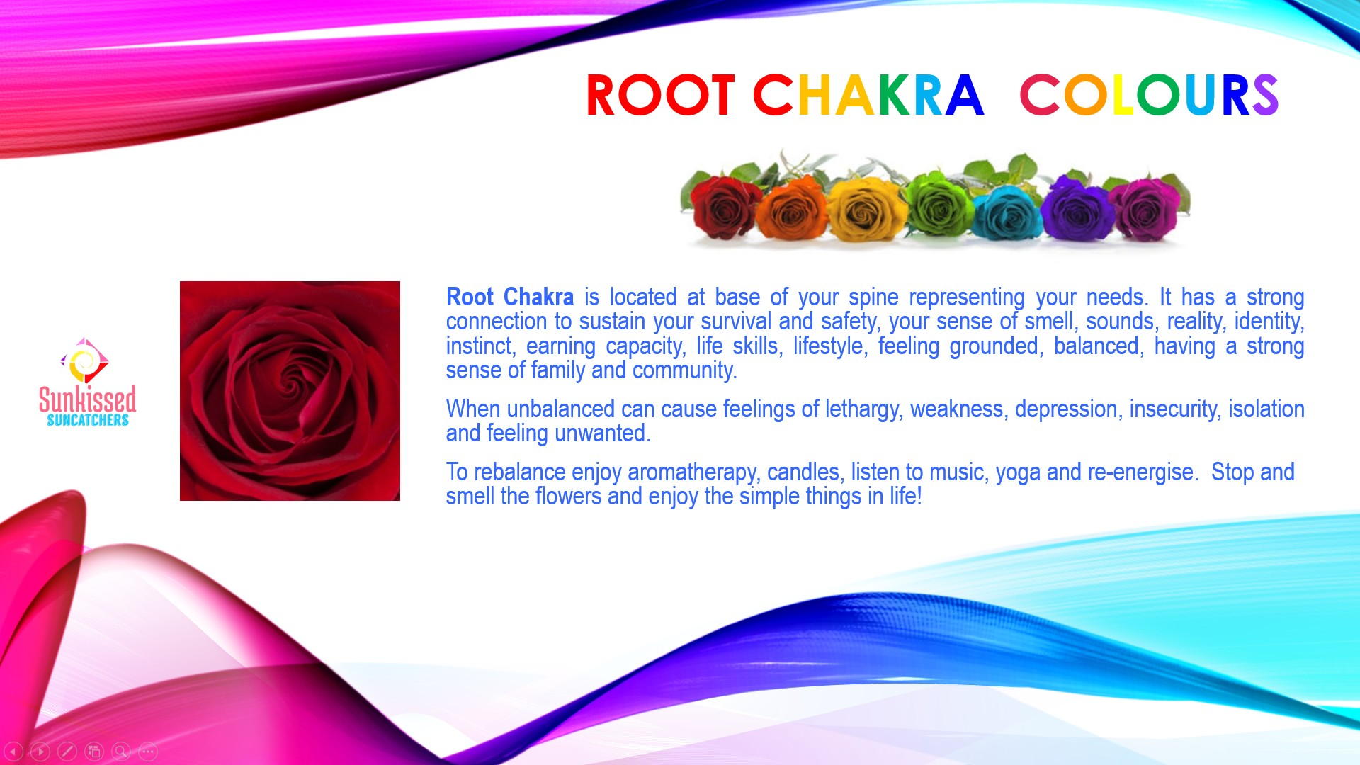Sunkissed Suncatchers 2 Root Chakra Colours