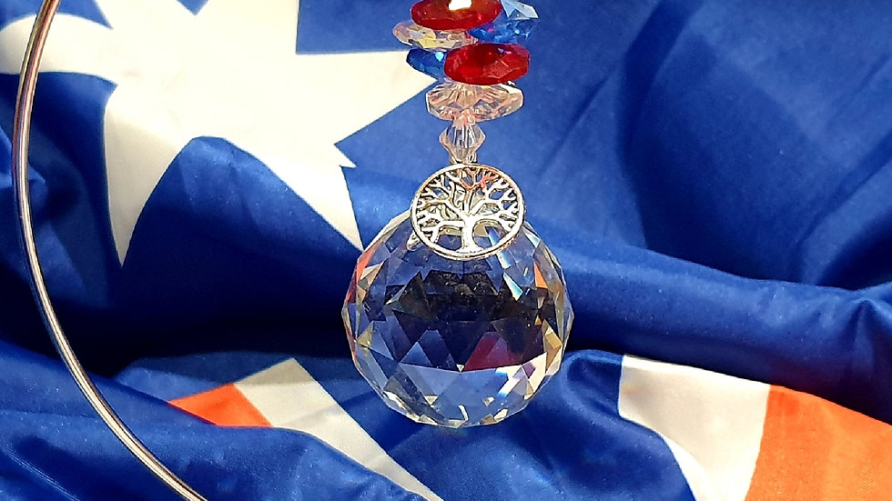 Suncatcher - Large Prism Red White & Blue Colours (stand sold separately)