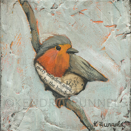 Robin Study #3  - Original Mixed Media Painting