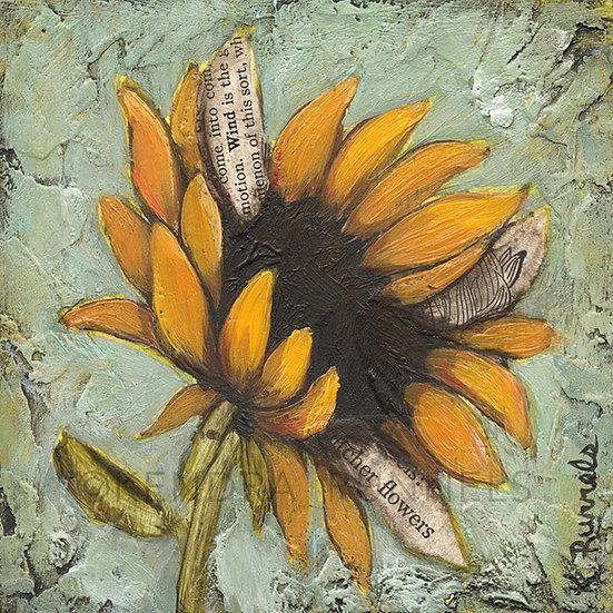 "Sunflower Study #3 - 4""x4"" Original Mixed Media Painting"
