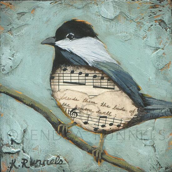 Chickadee Study #1  - Original Mixed Media Painting