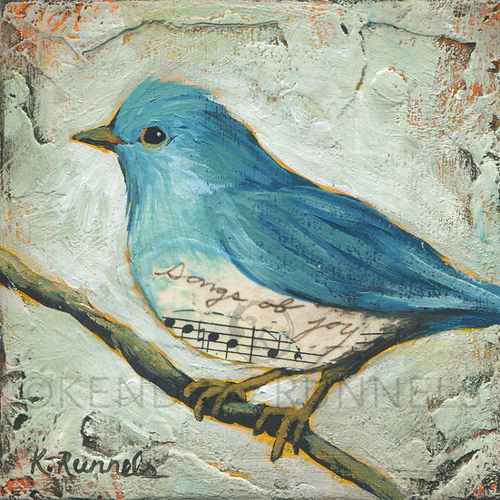 Bluebird Study #4  - Original Mixed Media Painting