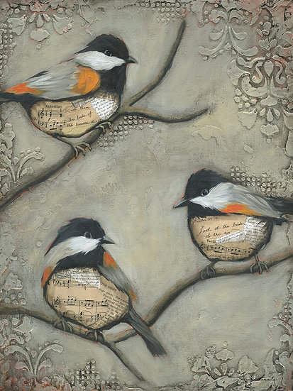 Three Chickadees - Original Mixed Media Painting