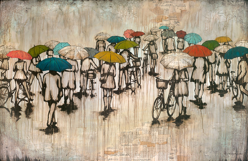 Umbrellas and Bicycles - Limited Edition Giclée
