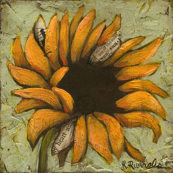 Sunflower Study #1 - Original Mixed Media Painting
