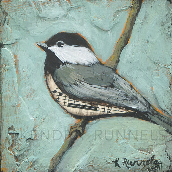 Chickadee Study #4  - Original Mixed Media Painting