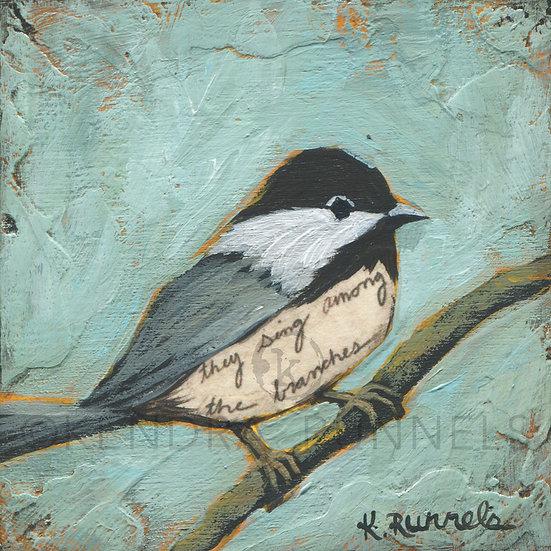Chickadee Study #2  - Original Mixed Media Painting