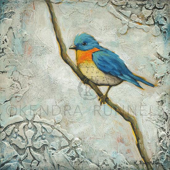 Bluebird Song  - Original Mixed Media Painting