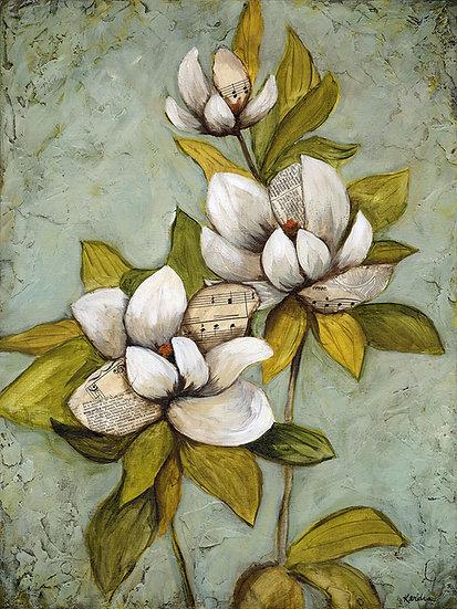 """May Magnolias #1 - 12""""x16"""" Original Mixed Media Painting"""