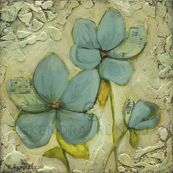 Blue Poppy Study #6 - Original Mixed Media Painting