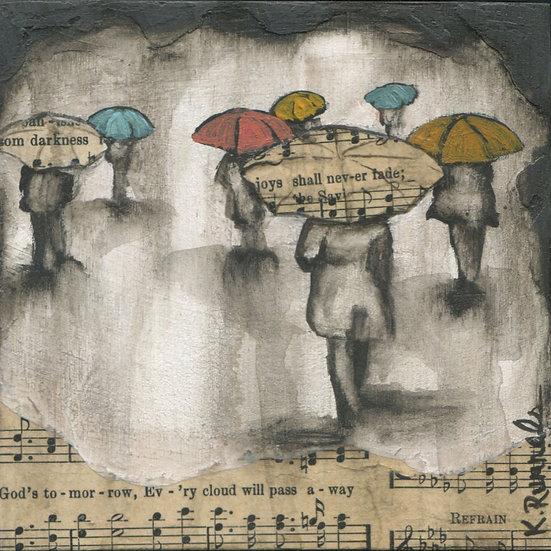 Rain Study #2 - Original Mixed Media Painting