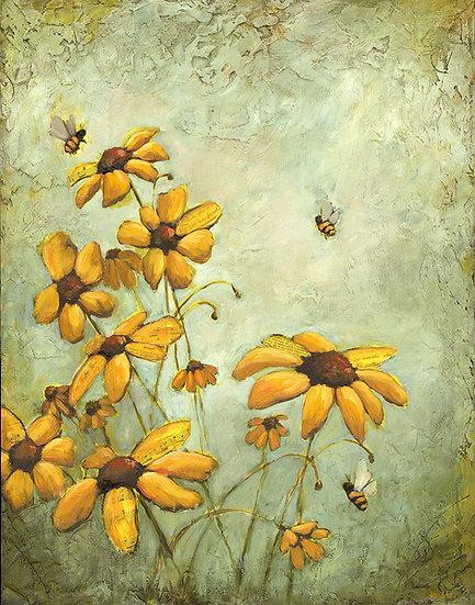 "In The Garden #2 - 22""x28"" Original Mixed Media Painting"