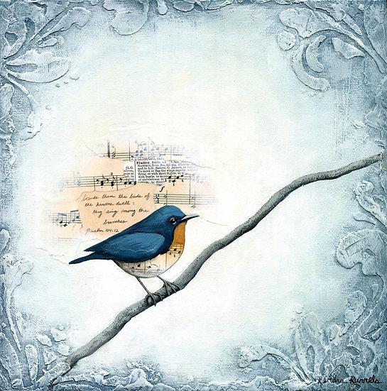Winter Blue Bird #2 - Original Mixed Media Painting