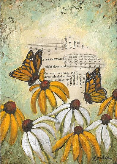 "Wildflower Study #3 - 5""x7"" Original Mixed Media Painting"