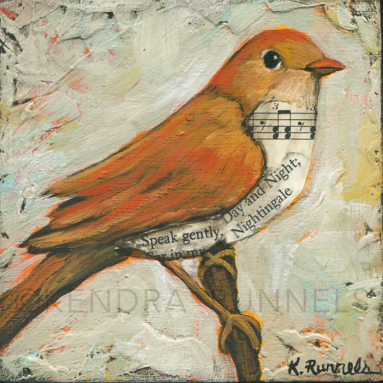 Nightingale Study - Original Mixed Media Painting