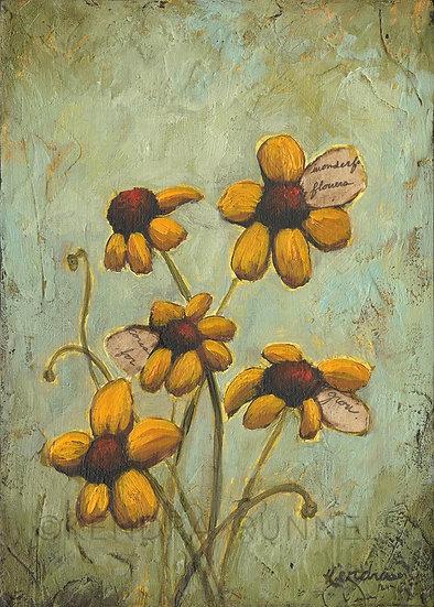 "Wildflower Study #1 - 5""x7"" Original Mixed Media Painting"