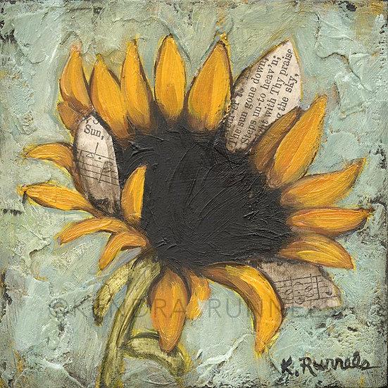 "Sunflower Study #1 - 4""x4"" Original Mixed Media Painting"