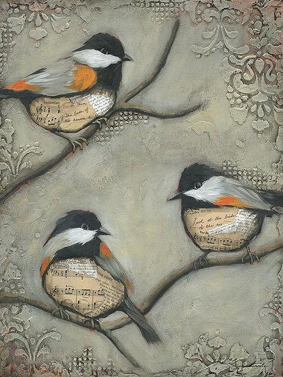 Three Chickadees - Limited Edition Giclée