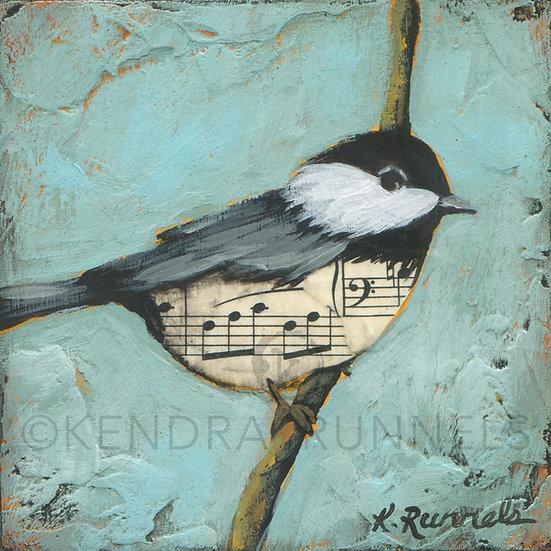 Chickadee Study #3  - Original Mixed Media Painting
