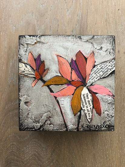 "Dahlia Study 4""x4"" - Original Mixed Media Painting"