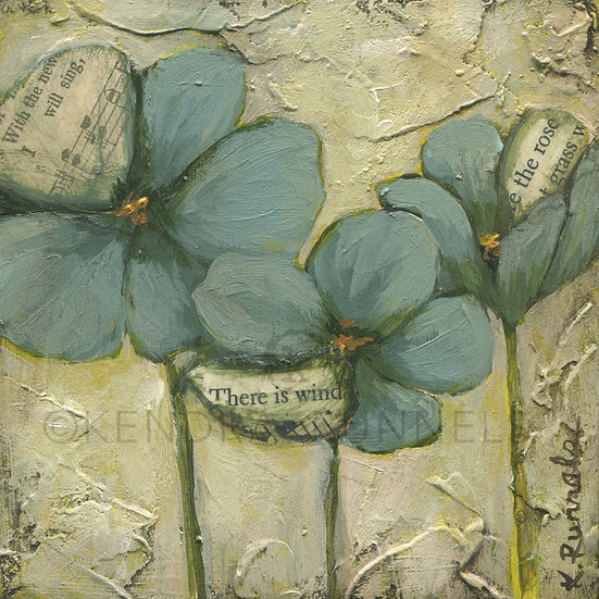 Blue Poppy Study #2 - Original Mixed Media Painting