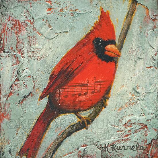 Cardinal Study #1 - Original Mixed Media Painting