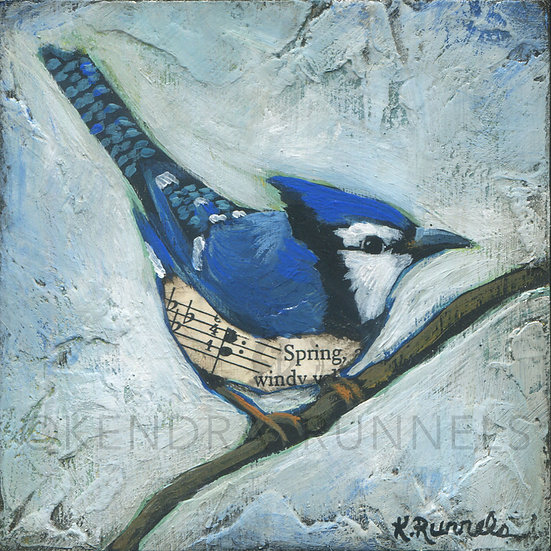 Bluejay Study #2 - Original Mixed Media Painting