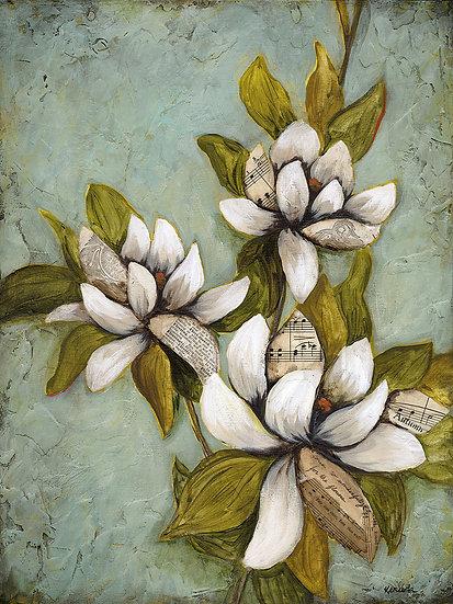 """May Magnolias #2 - 12""""x16"""" Original Mixed Media Painting"""
