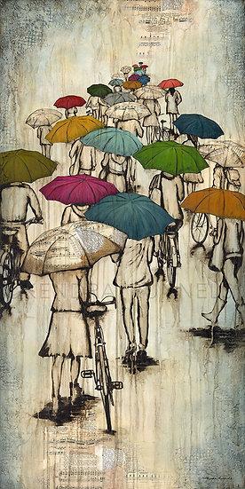 Fall Like Rain - Original Mixed Media Painting