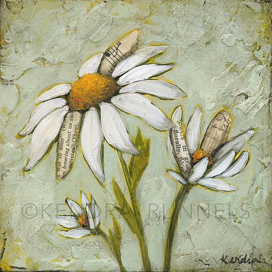 """Daisy Study #1 - 5""""x5"""" Original Mixed Media Painting"""