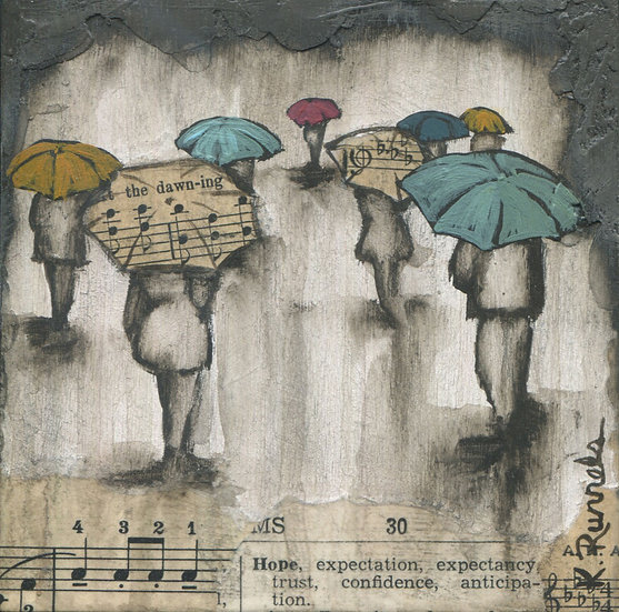 Rain Study #4 - Original Mixed Media Painting