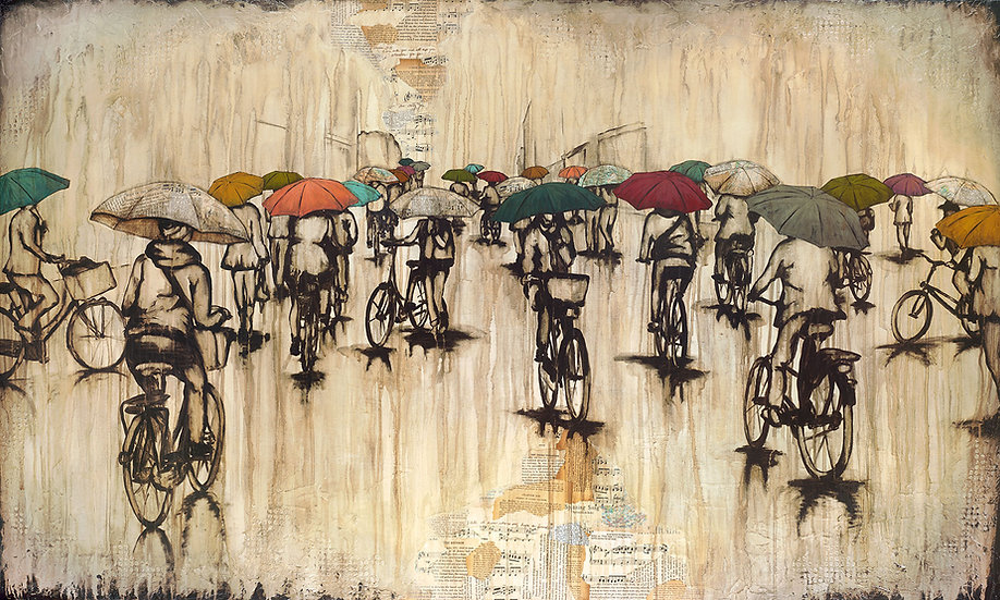 Riding Through The Rain - Original Mixed Media Painting