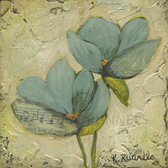 Blue Poppy Study #4 - Original Mixed Media Painting