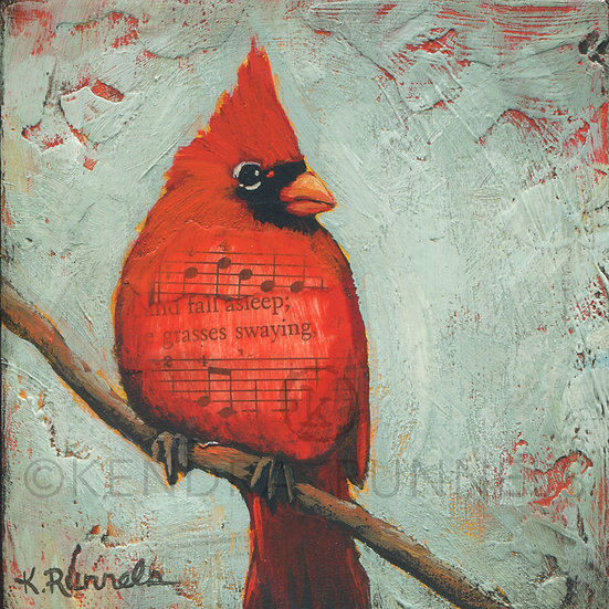 Cardinal Study #3 - Original Mixed Media Painting