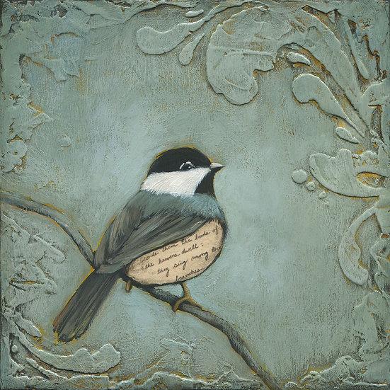 "Chickadee #1 8""x8"" - Original Mixed Media Painting"