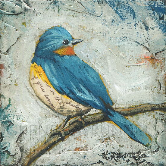 Bluebird Study #1 - Original Mixed Media Painting