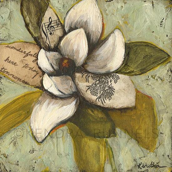 "Magnolia Study #1 - 5""x5"" Original Mixed Media Painting"