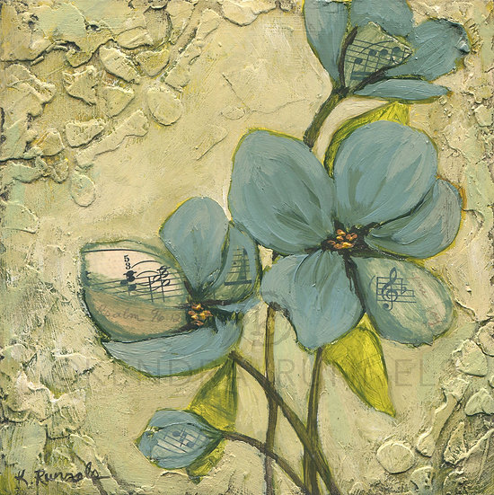 Blue Poppy Study #5 - Original Mixed Media Painting