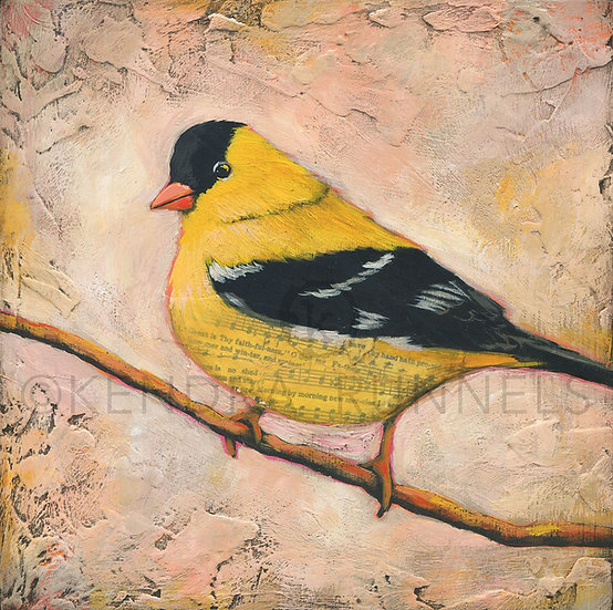 Goldfinch #2 - Original Mixed Media Painting
