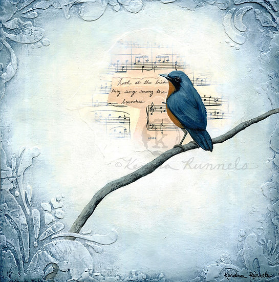 Winter Blue Bird #1 - Original Mixed Media Painting