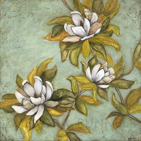 "Sweet Magnolias - 24""x24"" Original Mixed Media Painting"