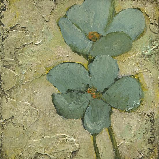 Blue Poppy Study #1 - Original Mixed Media Painting