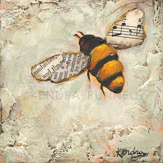 "Bee Study #1 - 4""x4""Original Mixed Media Painting"