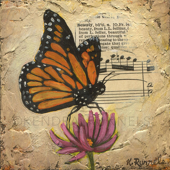 Monarch Study - Original Mixed Media Painting