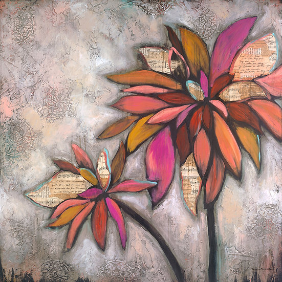 Dahlia's #2 - Original Mixed Media Painting