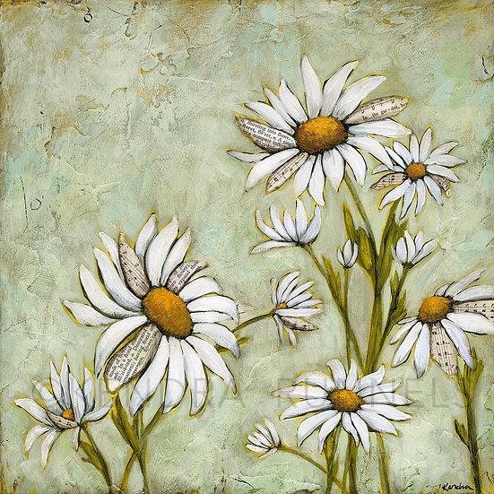 """Song of Daisies - 12""""x12"""" Original Mixed Media Painting"""