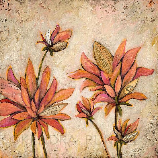 "Song of Dahlias #1 - 12""x12"" Original Mixed Media Painting"