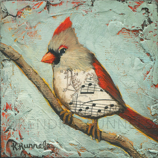 Cardinal Study #2 - Original Mixed Media Painting