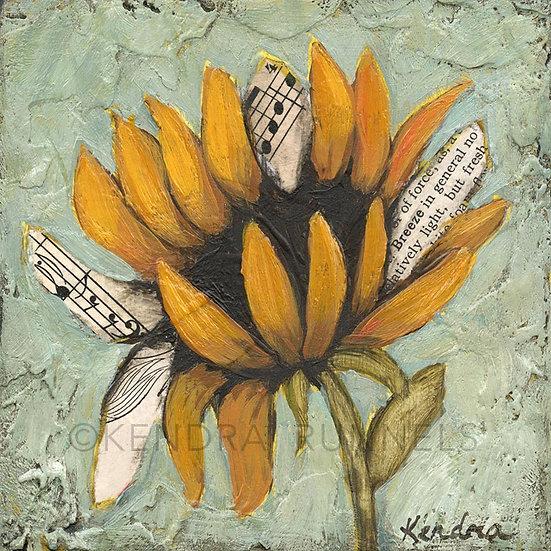 "Sunflower Study #2 - 4""x4"" Original Mixed Media Painting"